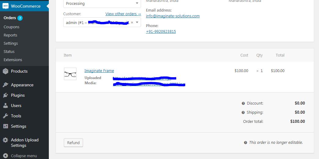 Uploaded File in Admin area